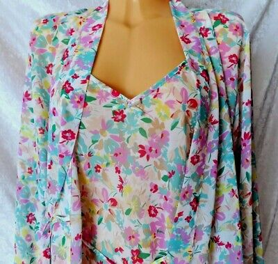 Ladies Chemise Set Chiffon Wrap Nightwear Nightie Dressing Gown Uk 10/12 Bnwt