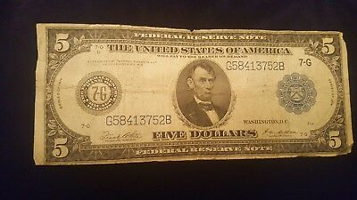 Circulated 1914 $5 Federal Reserve Note Large Size US Currency Chicago