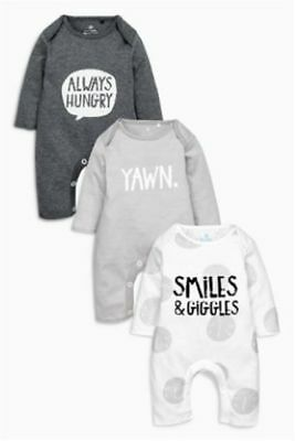 Ex Next Baby Boys Grey 3 Pack Yawn Smiles Hungry Romper N/born 0 3 6 9 12 18 24