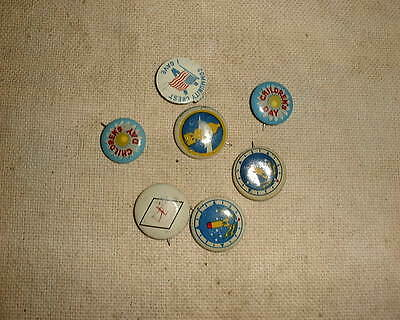 Wwii~Kellogg's Pep Cereal~4 Bombardment Squadron Fighter Planes Pinback Buttons~