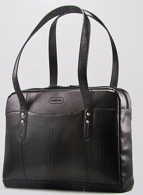 New In Box Samsonite Black Leather Slim Brief Laptop Case Fits up to 15.6""