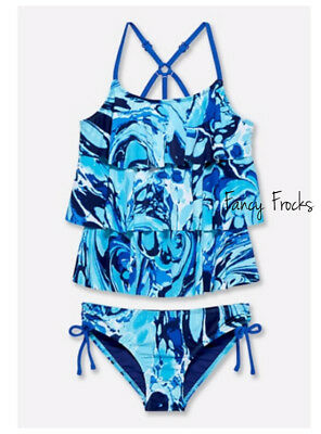 JUSTICE Girls Swirl Tiered Tankini Swimsuit, NEW, 16 18 20  Reg Plus