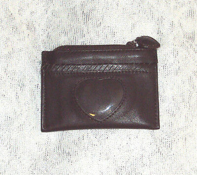 Brighton Brown Leather Coin Change Purse Mini Wallet Heart