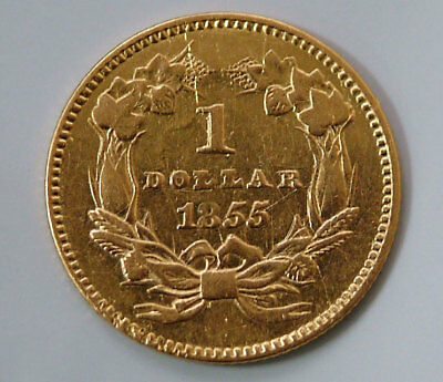 1855 One Dollar Indian Princess Type 2 United States $1 Gold Coin