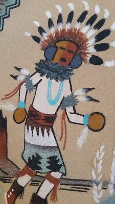 NAVAJO Indian Dancer Sand Painting YEI-BEI-CHA Signed Art Turquoise Rust decor