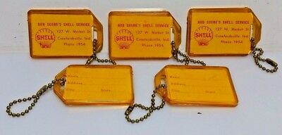Lot of 5 Vintage/Antique Shell Oil Gas Station Keychains, Address Tags,NOS