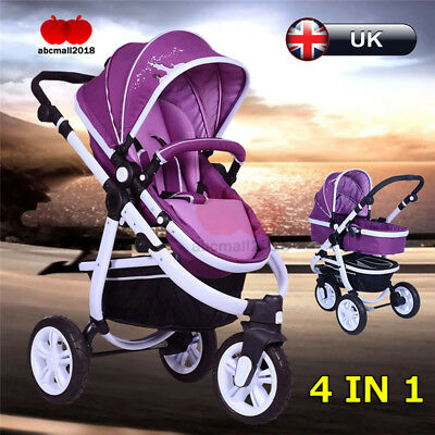 4 IN 1 New Baby Pram Stroller Pushchair Travel System Newborn 3 Wheels Purple UK