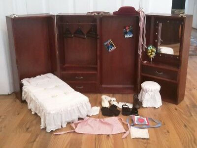 AMERICAN GIRL DOLL WOOD ARMOIRE WARDROBE TRUNK CLOSET W/BED VANITY STOOL  W/EXTRA