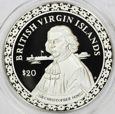 2000 SIR CHRISTOPHER MINGS Silver British Virgin Island $20 Pirate Coin