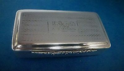 Victorian Sterling Silver Snuff Box by Edward Smith Hallmarked Birmingham 1841