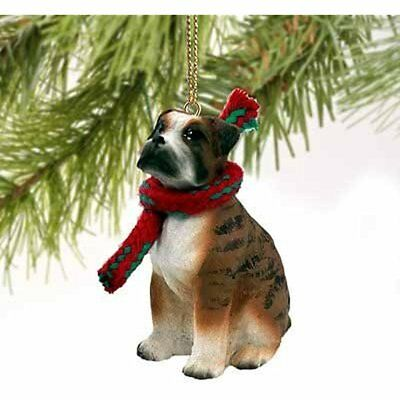 Boxer Miniature Dog Ornament Uncropped Ears Brindle By
