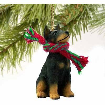 Collectible Figurines Doberman Pinscher Miniature Dog Ornament Black Tan