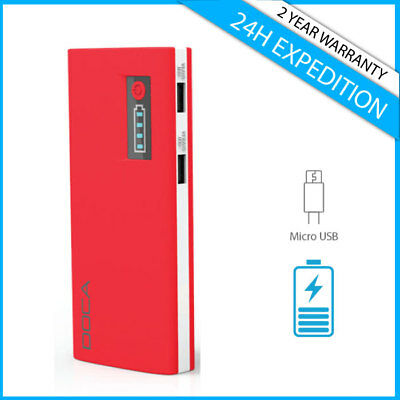 Doca D566A 13000mAh Power Bank Chargeur Battery 2x USB Charger Portable Red
