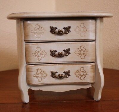 Vtg Antique Shabby Style White Chic Wood 3 Drawer Chest Jewelry Music Ring Box