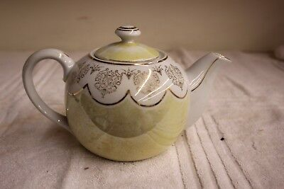 Vintage Ucagco Tea Pot Yellow Lustre with Gold Trim and Designs Used