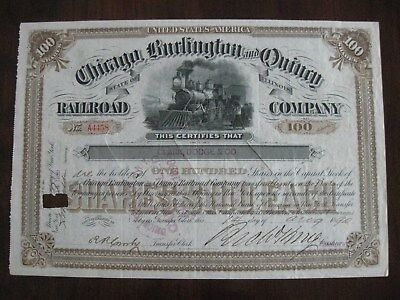 1890 Chicago Burlington & Quincy Railroad Company  Issued Stock Illinois