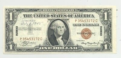 $1 Hawaii Silver Certificate Tinian Island (starting point of Enola Gay mission)