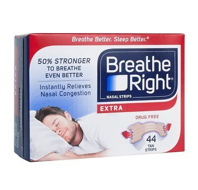 Breathe Right Extra Strong, One Size Fits All Nasal Strips, 44 Count - Tan Pack