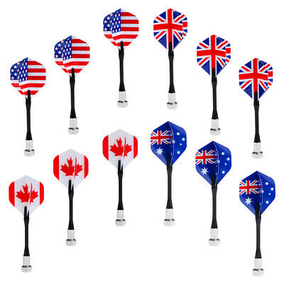 12Pcs National Flag Flights Magnetic Darts Darts Game Safety Plastic Darts