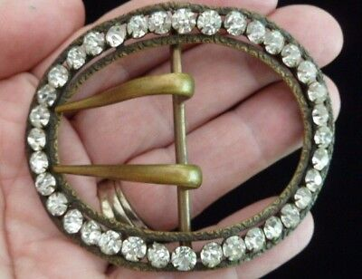 Antique Victorian Claw Set Brass Rhinestone Oval Sash Buckle