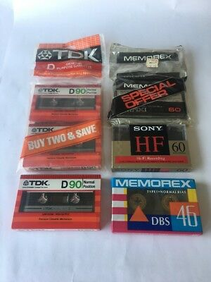 Lot of 6 mix Blank Audio Cassette Tapes 60/90 min New Sealed Normal Bias Sony...