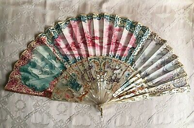 Beautiful Antique 19thC French Mother of Pearl Fan Bas Relief Carved For Repair