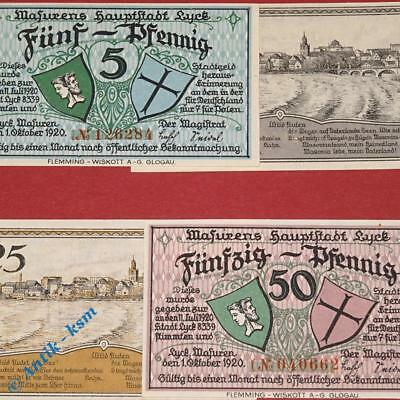 4 x Notgeld Lyck , Polen = Elk , german emergency money M/G 849.1 ,  kfr./unc