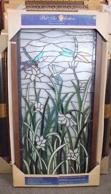 BLUE Dragonfly Garden Stained Glass Tiffany Style Window Panel 20 x 40 New
