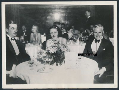 Charlie Chaplin & Mary Reeves Original Foto 1931 Dinner in Biarritz Frankreich