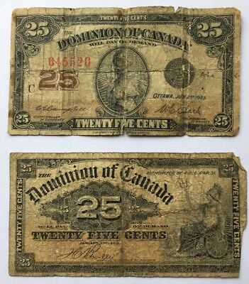 Lot of 2 1900 1923 Dominion of Canada 25 cent Bank Note Shinplaster Fractional 2