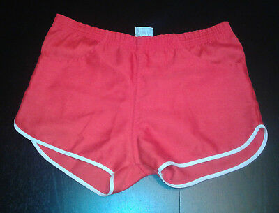 Vintage 70s High Steppers Gym Shorts Red W/ White Trim Size 33