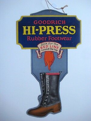 Original Goodrich Hi-Press Rubber Footwear Boots 2-Sided Die Cut Cardboard Sign