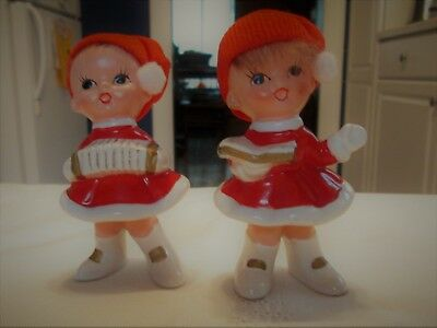 Vintage Lot of 2 Japan Napcoware Christmas Carolers Ceramic Figurines X-8392