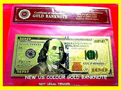 Banknote $100 Usa Color Gold America Dollar Bill 2009 Bank Note Coloured 3D 24Kt