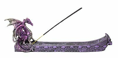 Purple Western Dragon Skull Incense Holder Burner Dark Legend Home Decor Gift