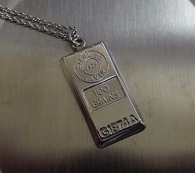 Sterling Silver Necklace w/ 925 Sterling Silver 100 Grains Bar Pendant