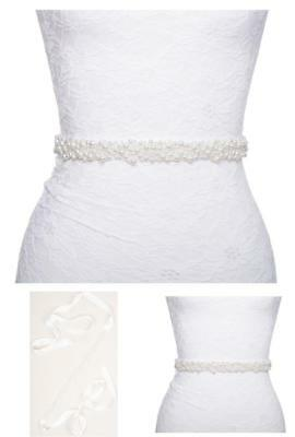 Redowa Pearl Beaded Formal Dress Bridal Sash Belt (Off-White Ribbon)