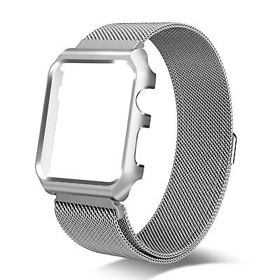 Apple Watch Series 3 Milanese Loop Replacement Band Metal Protective Case 42 MM