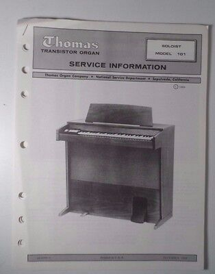Original Thomas Organ Service Information Soloist Model 101