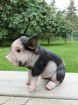 Pig Figurine  Dark Spotted  Sitting Animal Farm piglet resin  new Pigs Oinker