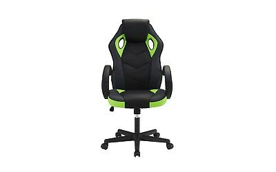 Computer Gaming Office Chair, High Back, PU Leather Swivel Adjustable, Blk/Green