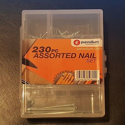 New 230 NAIL ASSORTMENT DIY WORK PANEL BRIGHT AND MASONRY IN CASE TOOLS BUILDING