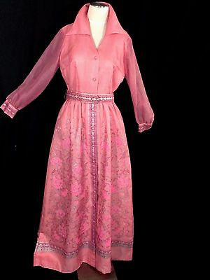 VINTAGE ALFRED SHAHEEN MAXI DRESS PINK-ROSE-SILVER sz 12