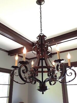 Spanish Revival Style Wrought Iron Chandelier 6 Light