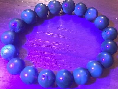 Genuine natural Mexican Blue blood red Amber Round Bracelet 19 beads