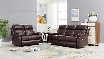 Tremendous Double Reclining Sofa And Loveseat Brown Bonded Leather Living Furniture Set Beutiful Home Inspiration Cosmmahrainfo
