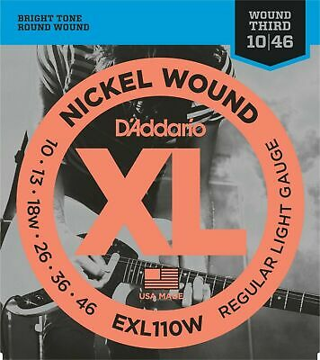 D'Addario  EXL110W Nickel Wound Light wound 3rd Electric Guitar Strings 10 - 46