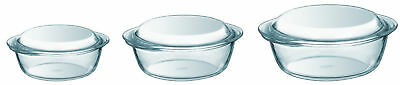 Pyrex 3 Piece Glass Casserole Set Non Stick Dishes Cooking Ovenproof Cookware