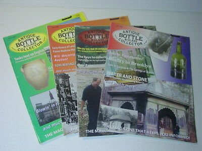 ANTIQUE BOTTLE & GLASS COLLECTOR Magazine July,Nov.2005 April,July 2006 4 issues
