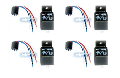 4 Pair 30/40 Amp 12V Bosch Style Relay & Harness Socket Spdt + 100% Copper Wires